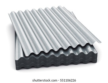 3D render illustration of the stack or group of stacked metal steel zinc-plated or galvanized wave shaped profile sheets for roof and roofing construction industry isolated on white background