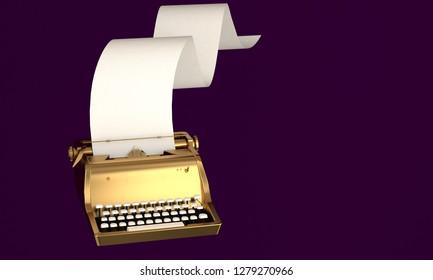 3D render illustration, storytelling concept, retro gold typewriter with paper sheet on dark purple background
