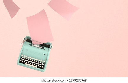 3D render illustration, storytelling concept, retro blue typewriter with paper sheets on pink background