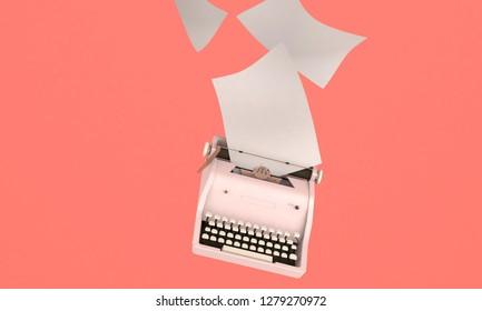 3D render illustration, storytelling concept, retro typewriter with paper sheets on orange  background