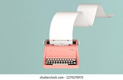 3D render illustration, storytelling concept, retro pink typewriter with paper sheet on blue background