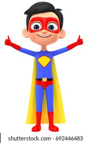 3d render illustration. Superman boy shows two thumbs up.