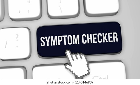3D render illustration of Symptom checker keyboard key