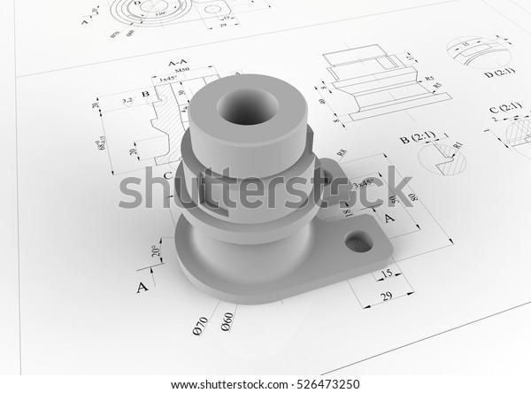 3D-Darstellung - technische Zeichnung eines mechanischen Teils. Der Teil ist oben auf der Zeichnung mit Messungen und Anmerkungen positioniert.