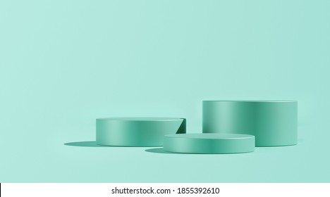 3D render, Illustration. Three cylinder, podiums, pedestal in soft pastel colors. Geometric shapes composition with empty space for product design show. Minimalistic banner background. Mint green