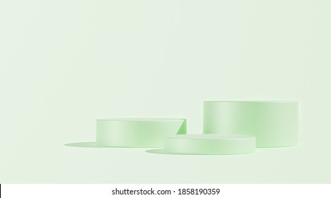 3D render, Illustration. Three cylinder, podiums, pedestal in soft pastel colors. Geometric shapes composition with empty space for product design show. Minimalistic banner background. Light green