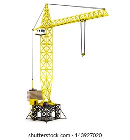 3D render illustration of tower crane