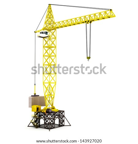 3D render illustration of tower crane
