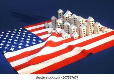 3d render illustration of United States real-estate development