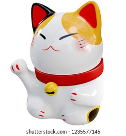 3d render illustration, White Maneki Neko raised right paw right angle on white background with clipping path