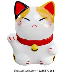 3d render illustration, White Maneki Neko raised right paw front view on white background with clipping path