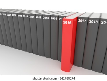 3D render illustration - year books, 2016 stands out