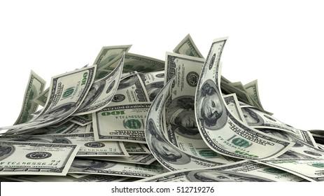 3D render, illustration,Heap of Dollar Bills isolated on white background