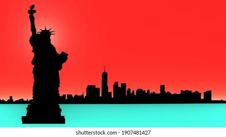 3d render illustrations New York city painting. Americans New York city.