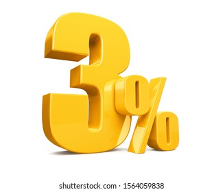 3d render illustration.Yellow three percent on a white background.