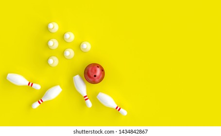 3d render image with bowling, ball and skittles on a yellow background, in a flat lay style.