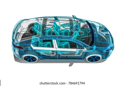 3D render image of an car in wire frame representing an car development process