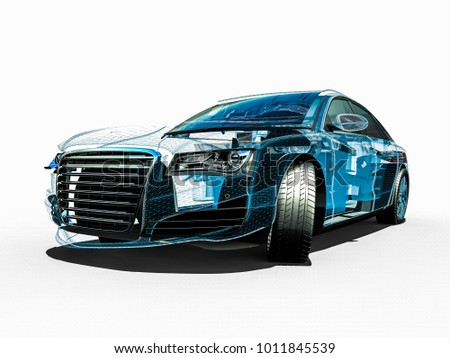 3 D Render Image Car Wire Frame Stock Illustration 1011845539