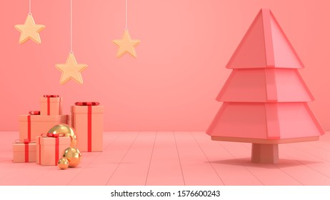 3d render image of christmas giftbox scene for copy space.