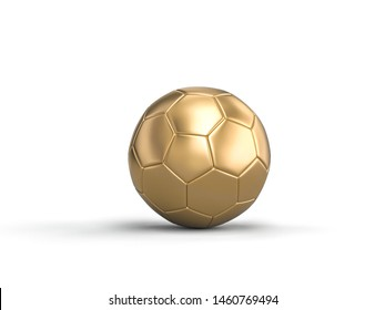 3d render image of classic soccer ball gold color on white background.