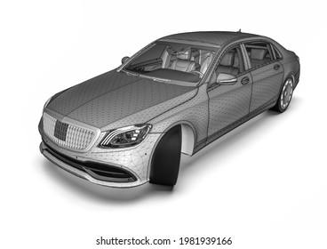 3D render image of a high class car representing CAD design
