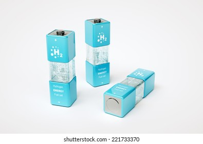 3d render image of hydrogen energy fuel cell
