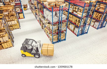 3d render image. industrial machinery at work in a large warehouse full of goods. Industry and logistics concept.