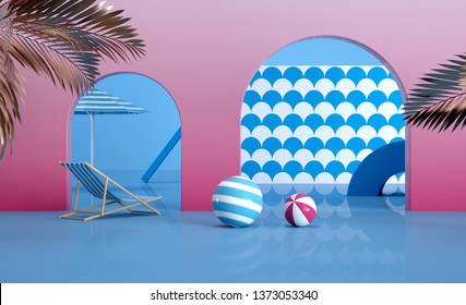3d render image pink and blue Tropcial view summer sunny day wave pattern lounger umbrella Fresh still life holiday illustration Colorful design