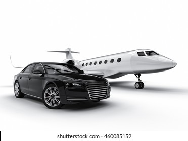 3D render image of a private jet with an expensive limousine representing high class transportation / High Class transportation