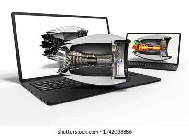 3D render image representing an airplane engine development with the help of a computer software
