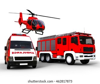 3D render image representing an Ambulance,police and fire truck on a white background. / First responder vehicles