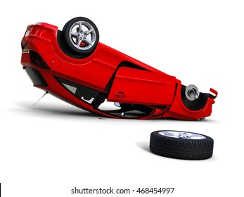 3D render image representing a car accident / Car accident