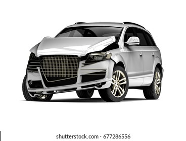 3D render image representing an car accident / White Wrecked car