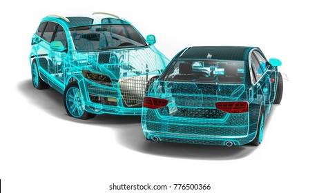 3D render image representing an car accident in wire frame