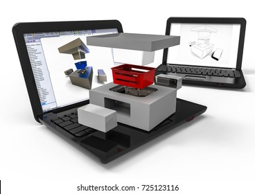 3D render image representing computer aided design plastic mold / Computer aided Design plastic mold