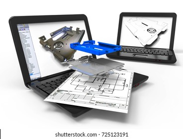 3D render image representing computer aided sheetmetal design / Computer aided Design sheet metal
