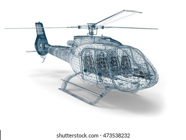 3D render image representing an helicopter in wireframe / Wireframe Helicopter