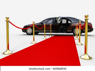 3D render image representing a high class limousine at the end of the red carpet / Red Carpet limousine
