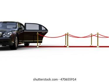 3D render image representing a high class limousine with a open door waiting at the end of a red carpet / Waiting limousine