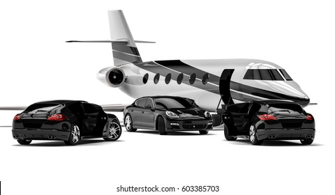 3D render image representing high class life and rich guy transportation / Rich guy transportation