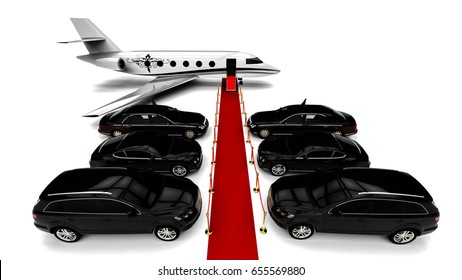 3D render image representing a high class travel fleet with an red carpet and a private jet / High class red carpet travel fleet