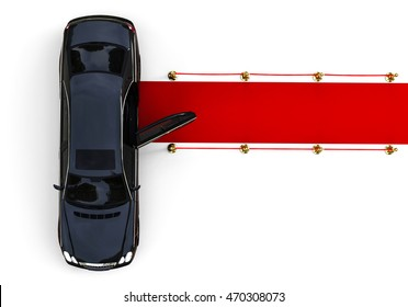 3D render image representing a limousine waiting with the door open at the end of a red carpet / Waiting limousine