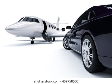 3D  render image representing Luxurious Car And Airplane / Luxurious Car And Airplane