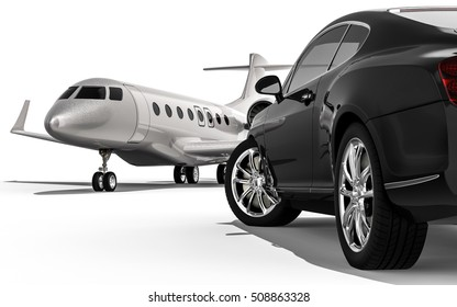 3D render image representing a luxury car with an private jet / Luxury life