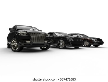 3D render image representing an luxury car hire fleet / Luxury transportation