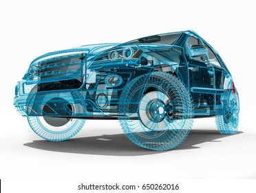3D render image representing an luxury SUV in wire frame / Wire Frame SUV