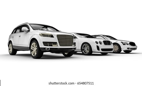 3D render image representing an luxury car fleet  painted white / Luxury transportation painted in white