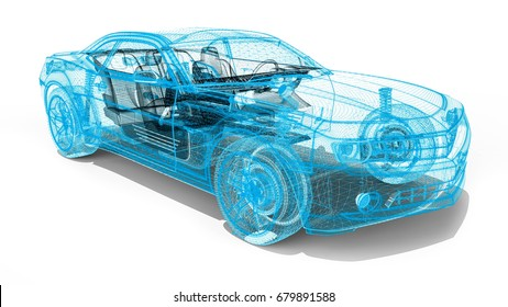 3D render image representing an luxury car in wire frame / Wire Frame car