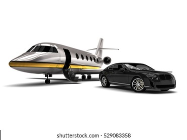 3D render image representing an private jet with a luxury car / Private jet with a Luxury Car