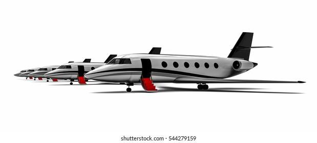 3D render image representing a private jet  fleet / Red carpet Private jet  fleet